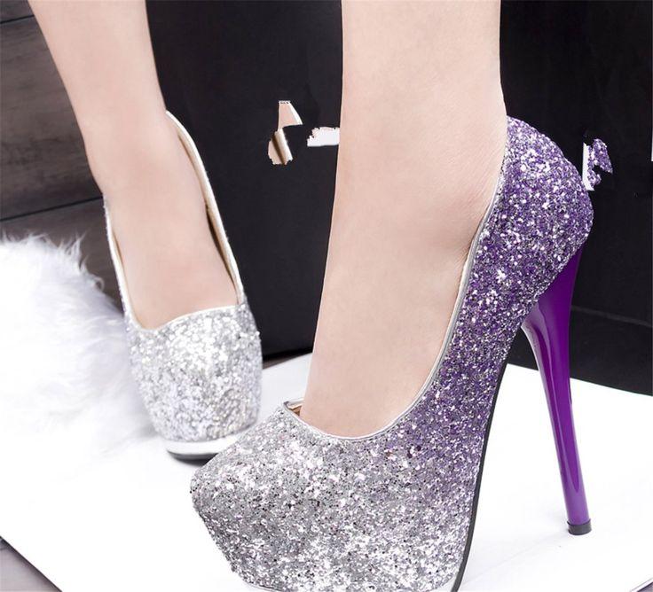 hohe schuhe glitzer damen glitzer pumps high heels farbe. Black Bedroom Furniture Sets. Home Design Ideas