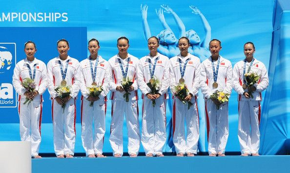 Team China celebrate winning Bronze after the Womens Synchronised Swimming Team Technical Final at the Stadio del Nuoto Sincronizzato on July 19, 2009 in Rome, Italy.