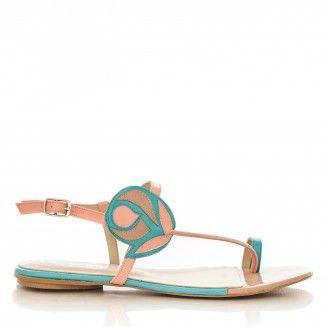 sandale dama din piele naturala 1804 somon cu turcoaz