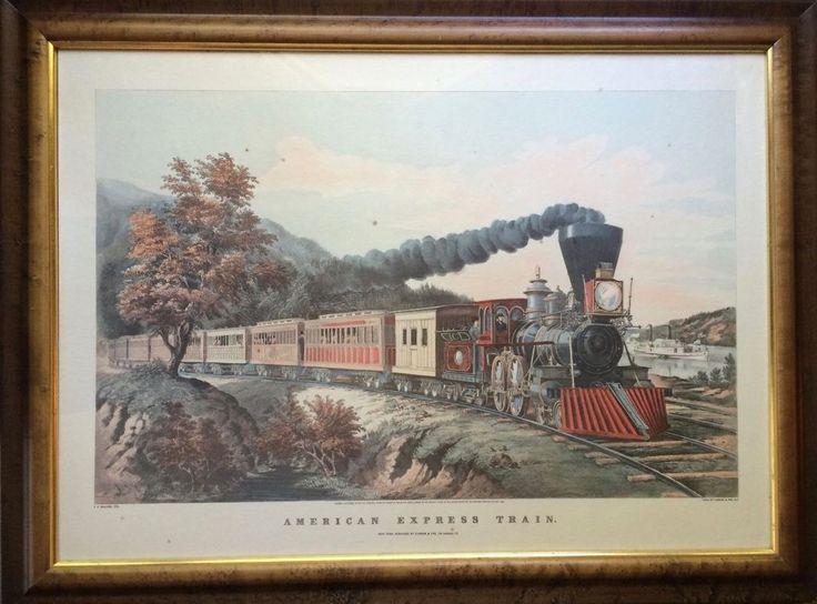 Currier Ives Andres Reproduction 1940s Lg 27x35 Framed American Express Train #Vintage