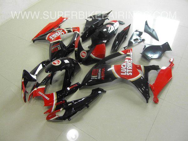 2011-2013 GSXR-600 750 Black & Red Lucky Strike Fairings