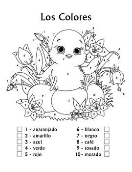 Use This Adorable Color By Number Worksheet To Reinforce Spanish Names With Beginning Students