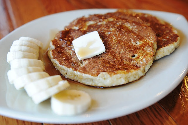 Quinoa Banana Pancakes.     Mike made these this morning.  Really tasty, super healthy, and very filling.  I ate one and was stuffed.  Definitely would make again!