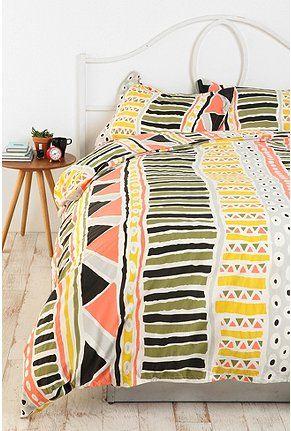 aztec.Urbanoutfitters, Bauhaus Stripes, Urban Outfitters, Dorm Room, Beds, Guest Bedrooms, Duvet Covers, Stripes Duvet, Tribal Prints