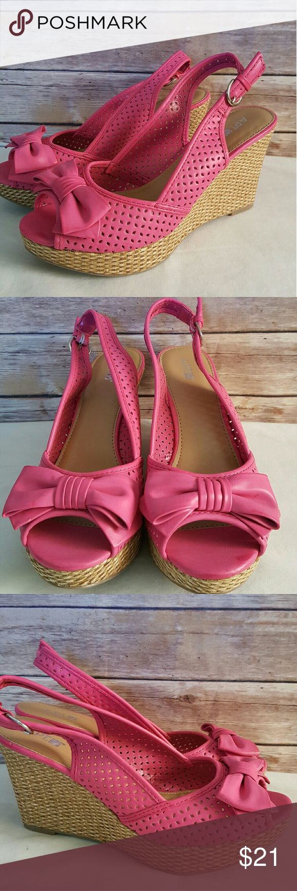 """New Bright Pink Espadrille Peep Toe Wedge 9.5 M Brand new without box  Size 9.5 Medium 4"""" heel Open Peep Toe with bow Apt. 9 Shoes Espadrilles"""