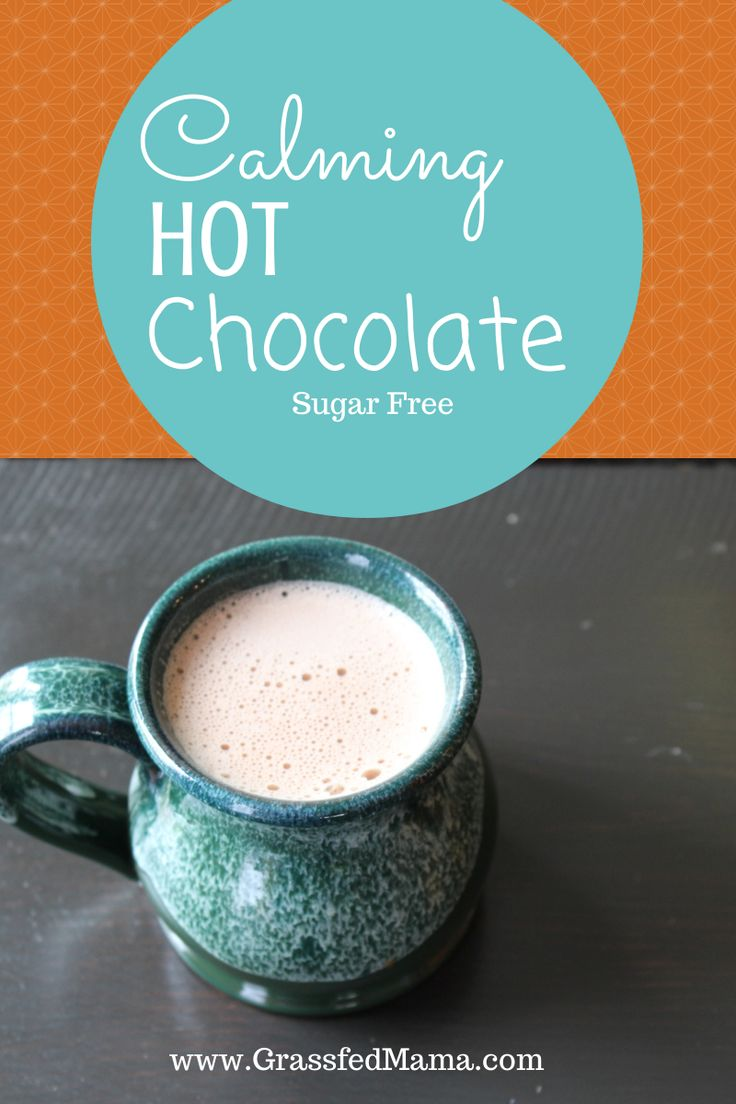 Calming Hot Chocolate  Serves: 2 Ingredients 4 cups of water 2 tea bags of chamomile tea 1 teaspoon of Stevia English Toffee liquid (Or your preferred sweetener) pinch of salt 2 tablespoons of cocoa powder 1 rounded teaspoon of natural calm magnesium powder Instructions Boil your tea bags in water and let sit for 5 minutes for tea to seep. Add all ingredients to blender. Blend for 1 minute. Serves 2 large mugs.