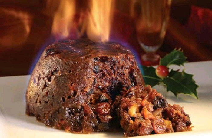 A Traditional Christmas Pudding flamed with BrandyChristmas Pudding is also known as plum pudding, because of the abundance of prunes in it! The rich and heavy pudding is boiled or steamed, made of a heavy mixture of fresh or dried fruit, nuts and sometimes suet, a raw beef or mutton fat Vegetarian suet may also be used for a lighter tasteThese puddings are very dark, almost black, and are saturated with brandy, dark beer or other alcohols They used to be boiled in a