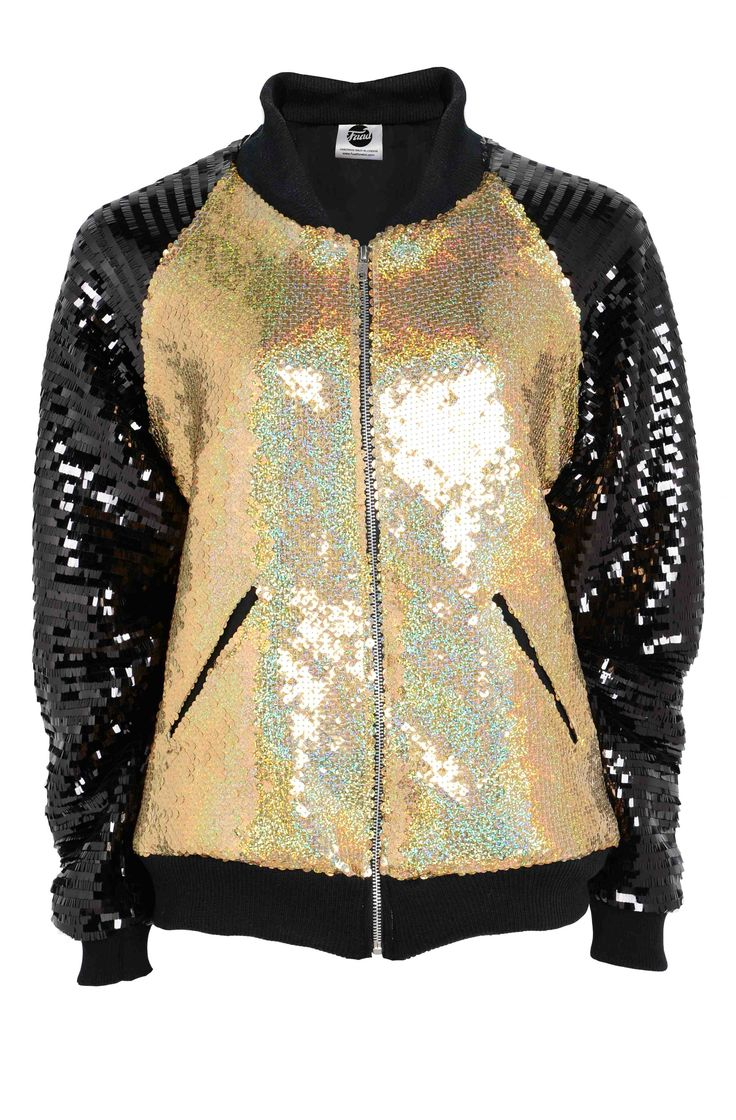 Deluxe Gold Sequin Bomber. By Fuud