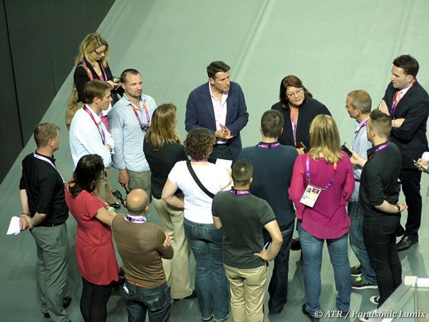 Seb Coe meets the press at the Water Polo Arena in Olympic Park. Add Around The Rings on www.Twitter.com/AroundTheRings & www.Facebook.com/AroundTheRings for the latest info on the #Olympics.