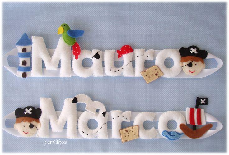 Nomes em feltro - Piratas para os manos Marco e Mauro. {Felt banner name for siblings - pirate theme.}