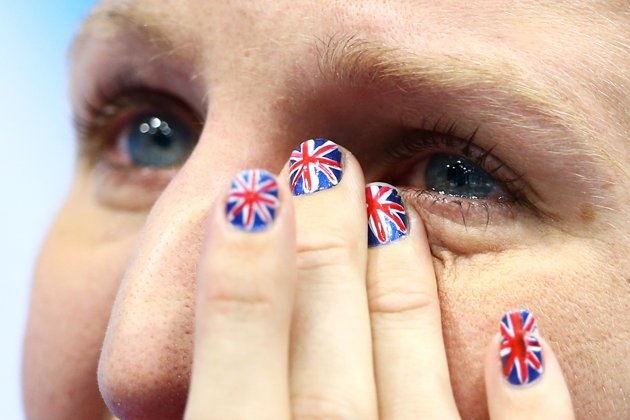 Rebecca Adlington–Britain–SwimmingJ  Bronze medallist Rebecca Adlington shows her emotion and her patriotic nails following the podium for the medal ceremony for the Women's 800m Freestyle on Day 7 of the London 2012 Olympic Games at the Aquatics Centre on August 3, 2012 in London, England.
