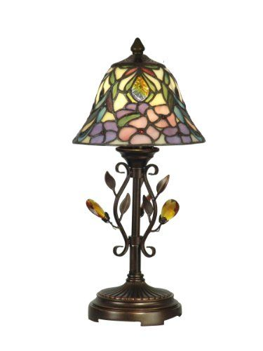 Dale Tiffany TA90215 Crystal Peony Accent Lamp, Antique Golden Sand and Art Glass Shade