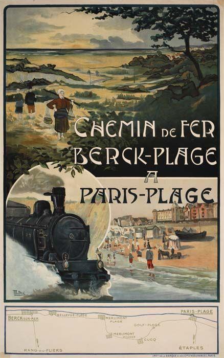 Chemin de fer du nord - Chemin de fer - Berck-Plage à Paris-Plage - illustration de Madre -
