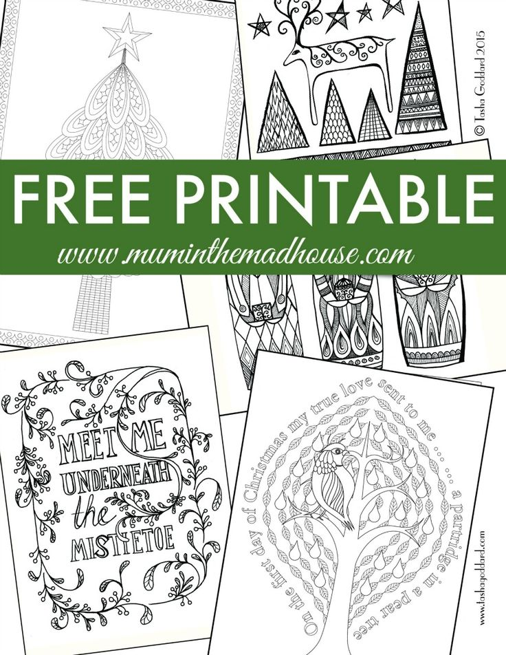Free Christmas Colouring Pages for Adults and Teens. Relax and unwind this festive period with this fab free Christmas colouring sampler from Tasha Goddard in conjunction with Mum in the Mad House.  These are perfect for adults and teens alike