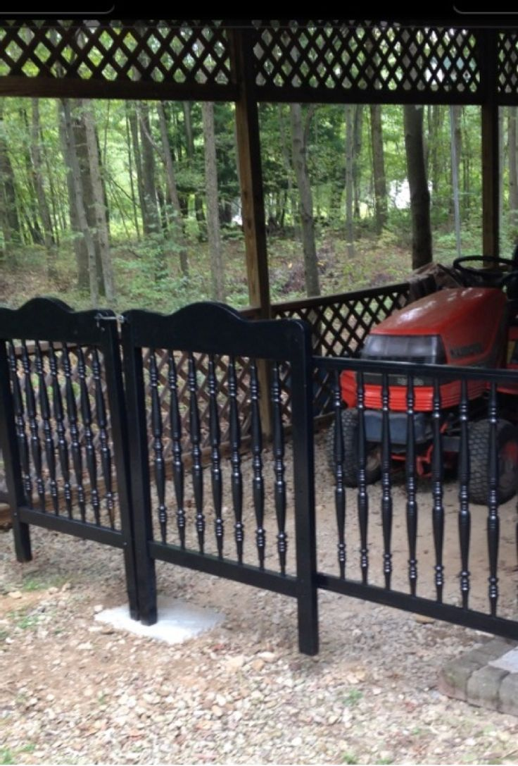 REPURPOSED COT for GATE AND FENCE =so impressed with this one = and guess who threw out an old cot.  It was not up to safety standards....why o why...#cot fence   #diy cot fence #repurposed cot