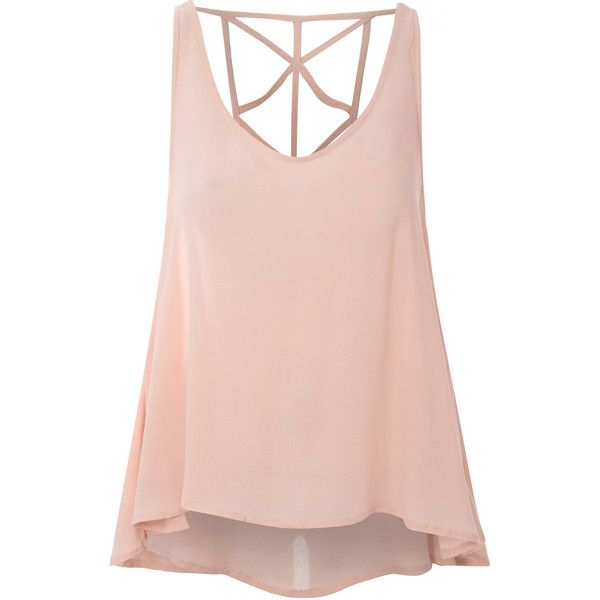 Peach Caged Back Vest Top (£12) ❤ liked on Polyvore featuring tops, shirts, tank tops, tanks, pink, scoopneck top, strappy top, pink tank top, caged top and strappy tank