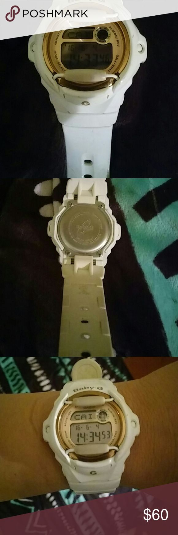 Baby g shock watch Works perfectly fine baby g shock. Rare rose gold and copper colors around face of watch and with white band. Casio baby g shock  Accessories Watches