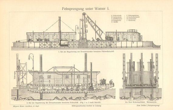 1904 Drillship Dredger Dredger Ship Original by CabinetOfTreasures