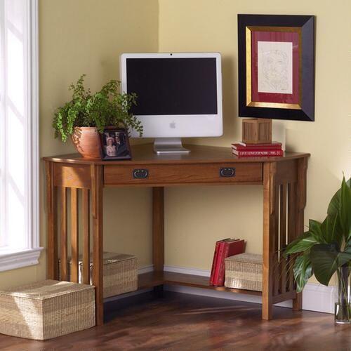 Oak Finish Duncan Corner Computer Desk - v2