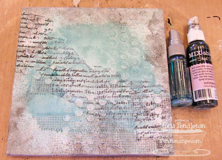 A mixed media canvas...MFT June Teasers Day 4 ~ Cupcake's Creations. Process steps for the background.