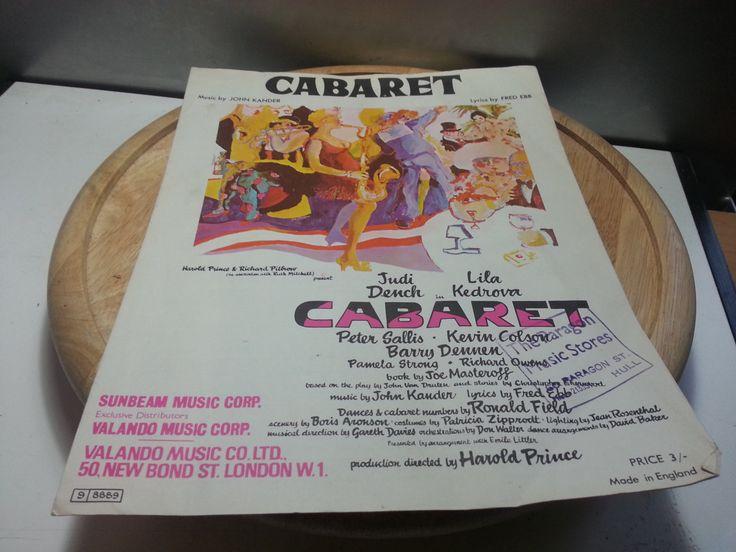 Carbaret, vintage 1966 music sheet, sunbeam music corp, Judi Dench, Lila Kedrova & Peter Sallis,John Cander, fair condition by LaMaidenenNoire on Etsy