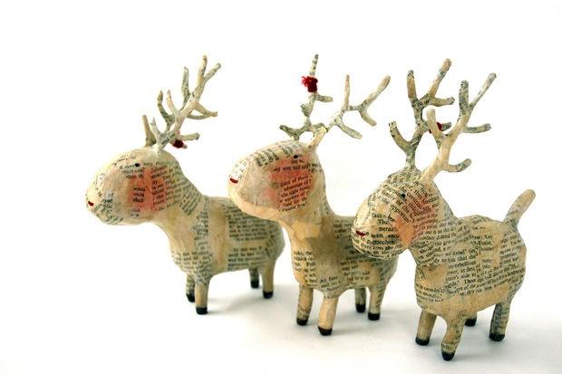 papermache deer. Too cute.