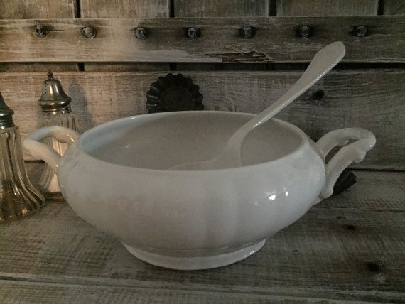 White Soup Tureen w/ Ladle  White Vintage Soup by TheLilyPorch