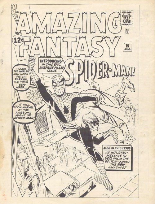 Steve Ditko's original cover for Amazing Fantasy #15, the first appearance of Spider-Man.