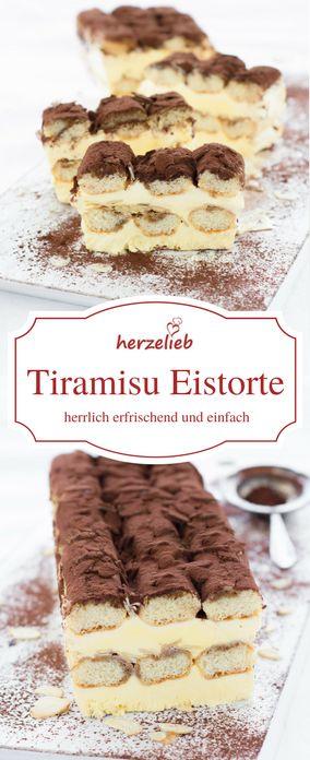 Eis Rezepte: Leckere Tiramisu Eistorte. So ist  Klassiker schnell zubereitet. Ein tolles Dessert  von herzelieb.