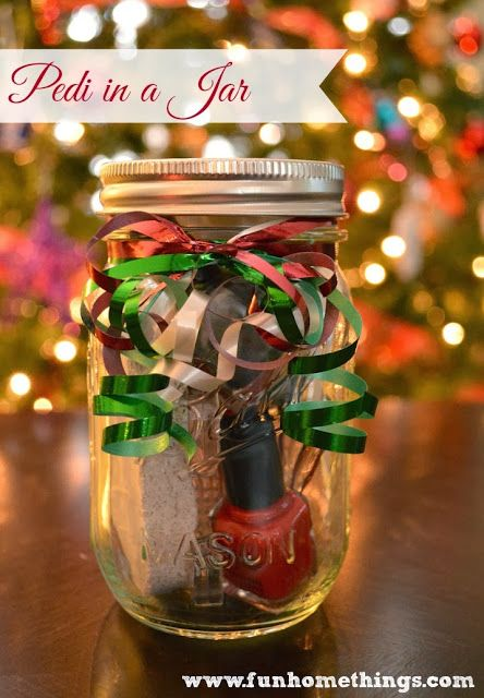 Fun Home Things: Homemade Gift Ideas--Pedi in a Jar Mason jar (pint size) Nail polish Nail polish remover (travel size) Foot cream or scrub Pumice stone Nail brush Nail clippers Toe separator