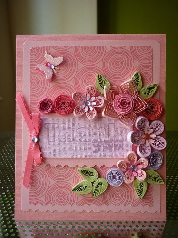 "Handmade Paper Quilling Set of 5 ""Thank You"" cards by FromQuillingWithLove"