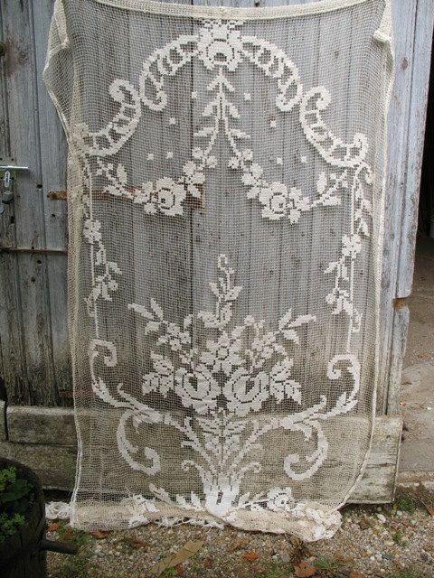 Vintage Large French Crochet Filet Curtain Vintage