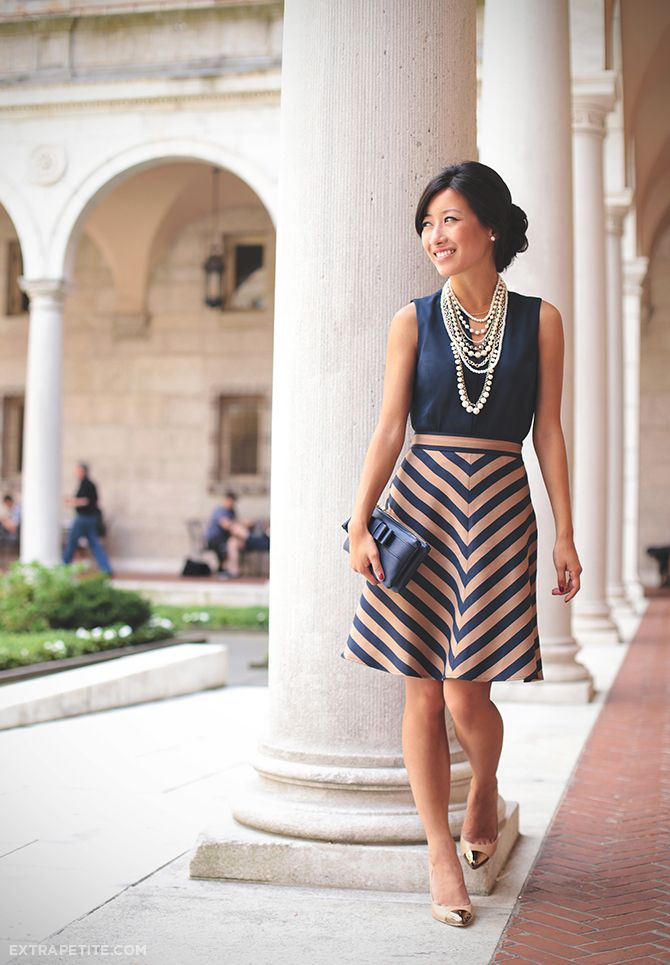 Ann Taylor outfit c/o - peplum shell, striped skirt (altered), cap-toe pumps, necklace & clutch