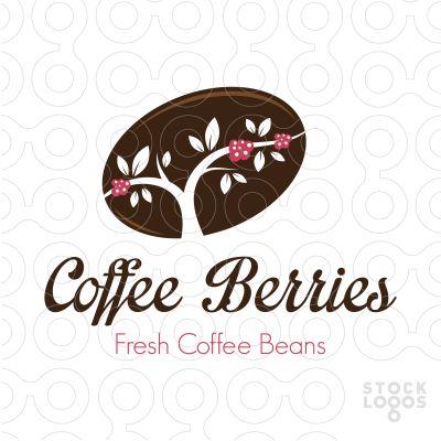 Coffee tree with red fresh coffee berries inside a coffee bean.