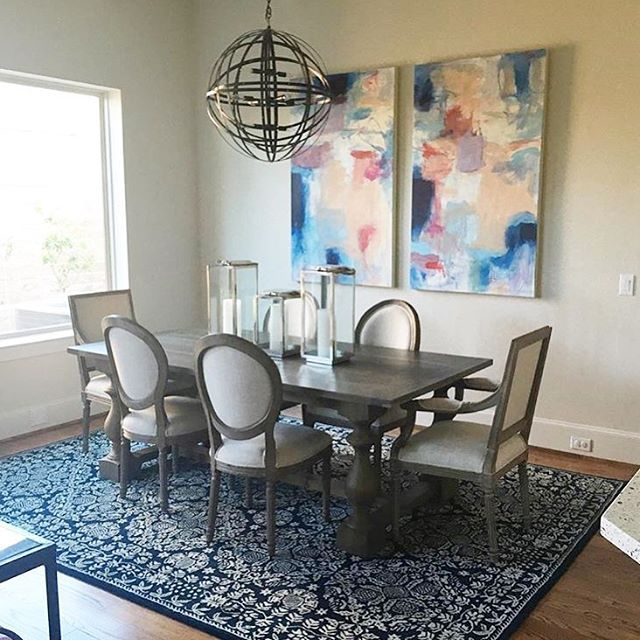 Transitional Dining Room Grounded By A Historical Yet Contemporary Smithsonian For Surya Rug SMI