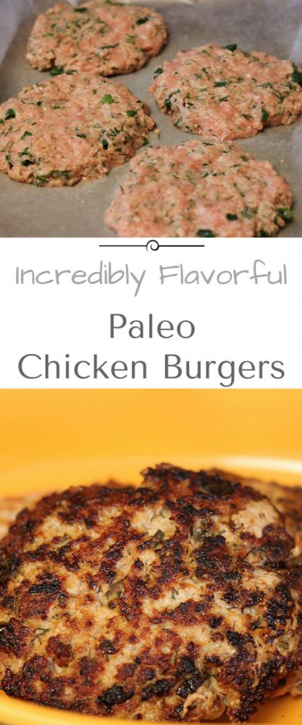 Packed with flavor, ground chicken burgers! Paleo, quick and easy. Perfect for weeknight meals!