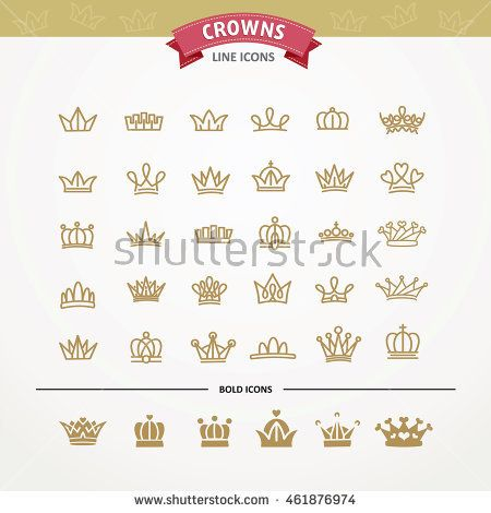 Vector heraldic elements design. Set of golden crowns