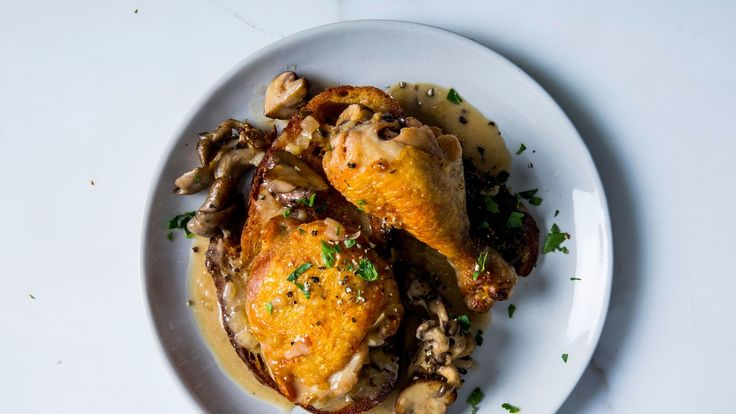 The key to browning chicken skin in butter is to crowd the pieces so the butter doesn't burn in the skillet—then it makes the most beautifully browned skin!