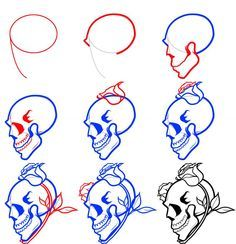 how to draw a skull step by step - Google Search