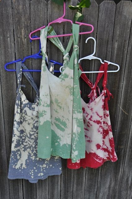 DIY: Tanks made from old t-shirt and bleach.