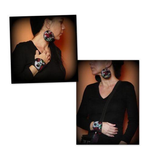 Hímzett karkötő-fülbevaló szett-handmade by Judy Majoros