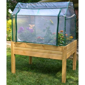 This raised mini greenhouse can be stained or painted.