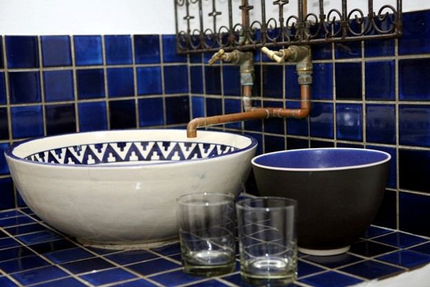 Beautiful bathroom ideas. Blue and white. Rustic plumbing. 3@Marion Guesthouse.