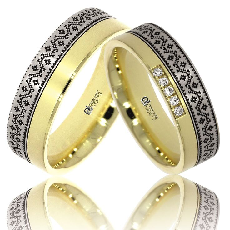 Verighete ATCOM Lux personalizate VIORICA aur galben cu alb ornate cu gravura inspirata din motive traditionale romanesti, zona Oltenia.