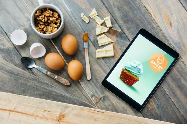 Free Pastry Cooking Plus Tablet Mockup In Psd Pastry Cook Ipad Mockup Psd Mockup