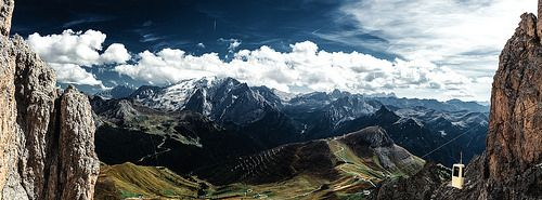 View to Marmolata from Langkofel South Tyrol, Northern Iraly...Seiser Alm