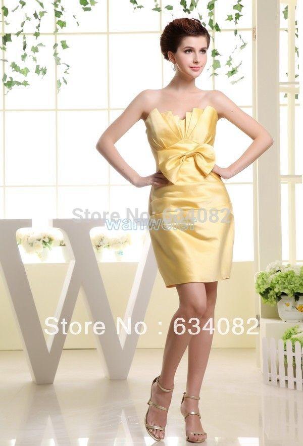 Да бесплатная доставка 2016 желтый серебряный Лук дешевые бинты vestidos formales макси партия короткие Атласные платья невесты