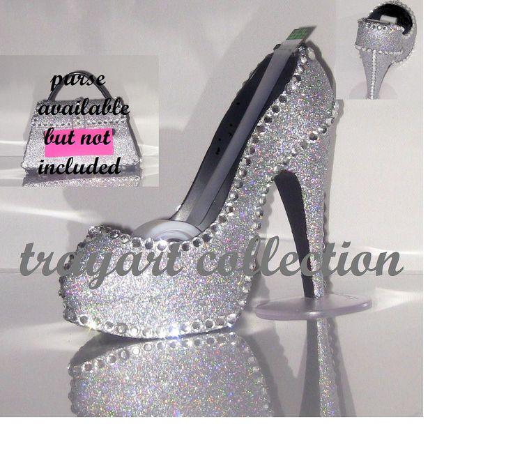 Gem Bling sparkle High Heel Shoe TAPE DISPENSER - Stiletto Platform - office supplies - trayart collection. $29.50, via Etsy.