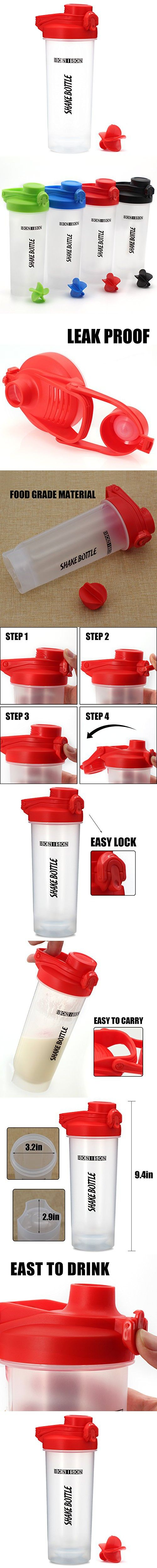Hoople 24 OZ Mixers Protein Mixing Bottle Smoothies Shaker Mix Powders Shaker Bottle BPA and Phthalate-free Plastic Leak Proof Bottle Loop Top Twist Cap Shaker (24oz-red)