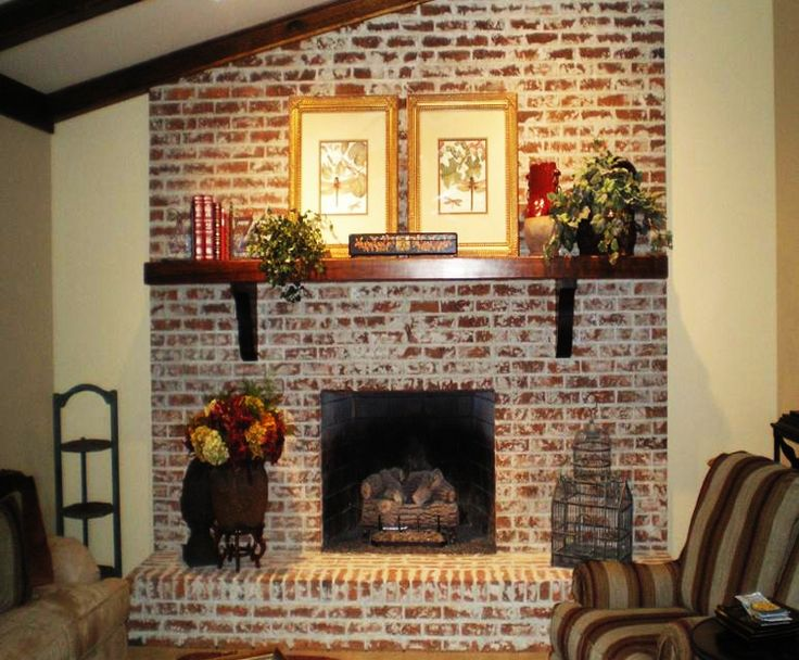 whitewashed veneer brick | Fix My Room Series: How To Freshen Up a Brick and Mortar Fireplace ...
